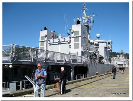 HMNZS Otago and Te Mana at the Overseas terminal.