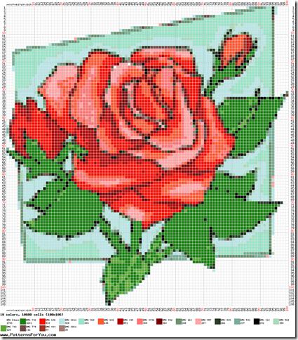 Ponto cruz graficos de rosas  2