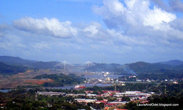 Miraflores locks and Centennial Bridge, Panama Canal