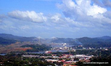 Miraflores locks and Centennial Bridge, Panama Canal