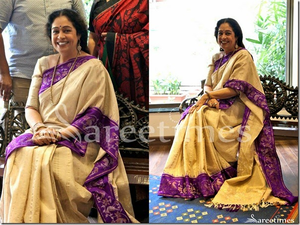 Kirron_Kher_Cream_Silk_Saree