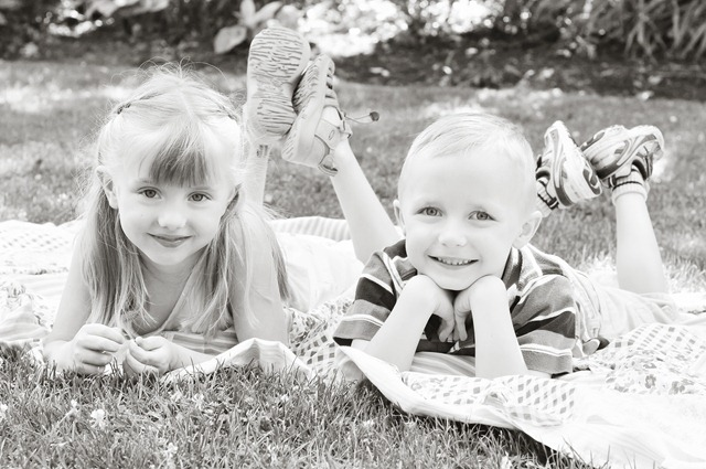 kids on blanket bw
