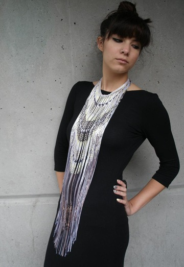 Long Fringe Necklace with Lao Sarong Print,£199,Finchittidafinch