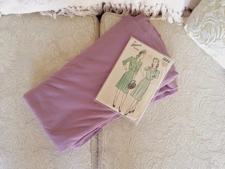 Advance pattern & purple jersey fabric for the 40s fashion challenge   Lavender & Twill