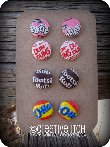Candy Wrapper Button Earrings by Creative Itch