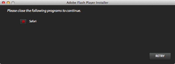 Adobe flash player close safari