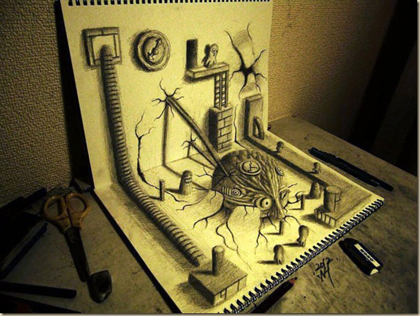 Incroyables dessins au crayon en 3D par Nagai Hideyuki-008