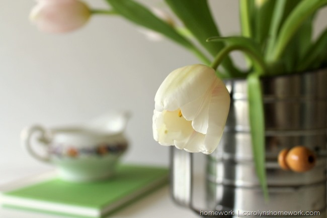 Repurposed Vintage Sifter to Vase with tulips via homework | carolynshomework.com