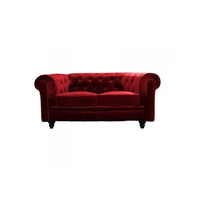 acheter canap chesterfield 2 places en velours rouge pantin chez d co priv dilengo. Black Bedroom Furniture Sets. Home Design Ideas