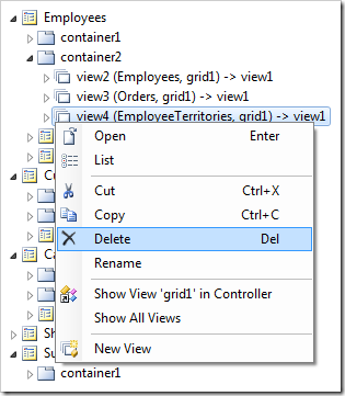 Delete context menu option for 'view4' on Employees page.