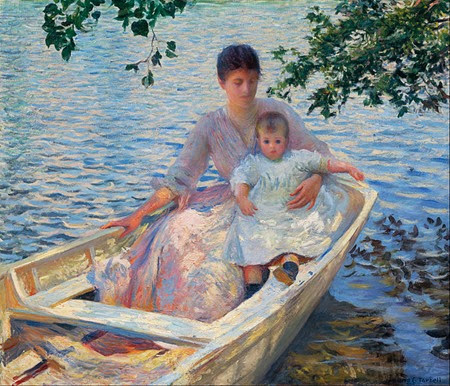 Mother and Child in a Boat Edmund Charles Tarbell 1892