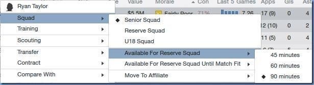Reserve squad