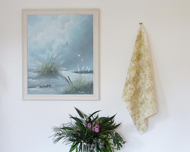 Modern Australiana botanical dyed linen tea towel by Alchemy 1