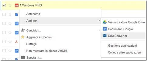 Google Drive Apri con>DriveConverter