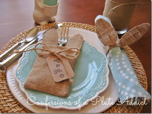 CONFESSIONS OF A PLATE ADDICT No-Sew Bunny Ear Flatware Pocket and Napkin Ring