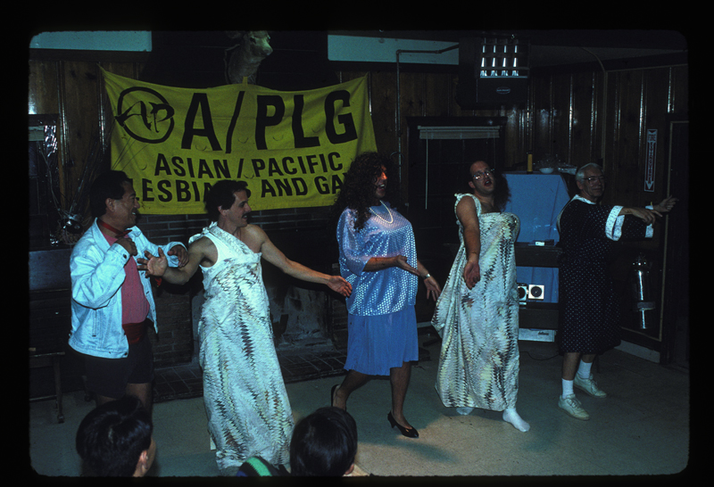 Asian/Pacific Lesbians and Gays (A/PLG) drag performance. Undated.