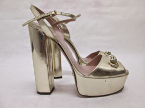 Gucci Platinum Metallic Heels