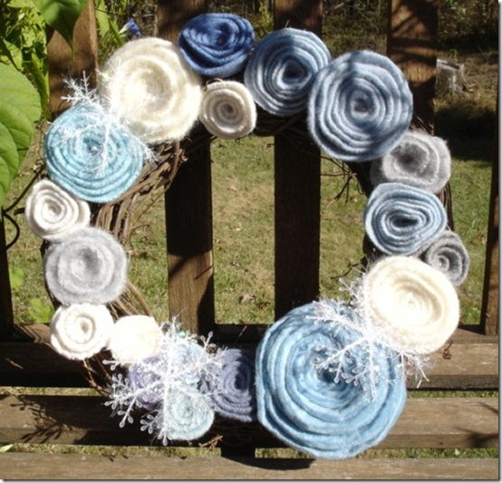 Winter wreath--grapevine wreath with blue and white rolled felt flowers and snowflakes