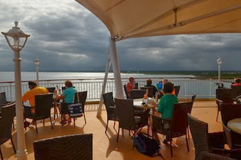 late lunch on the patio before departing Costa Maya