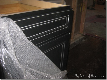 Black Kitchen Cabinet, silver glaze