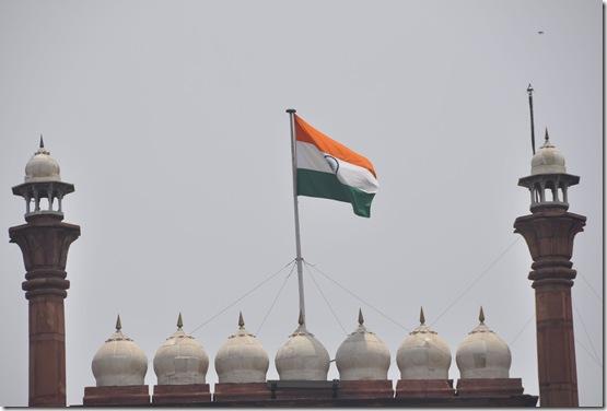 2013-07-14 1 Delhi 090 drapeau Indien sur fort rouge