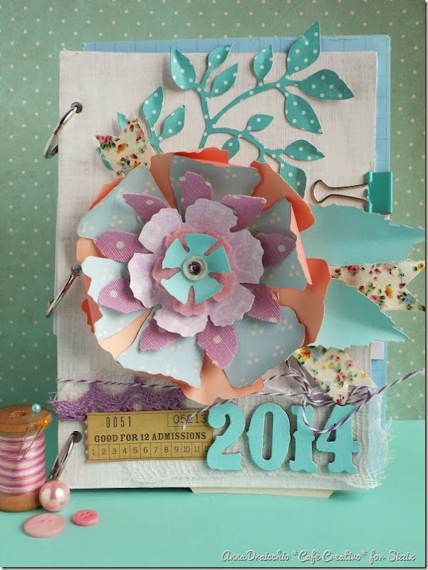 cafe creativo - Anna Drai - sizzix big shot - Mini album - Jumbo Tattered Florals (1)