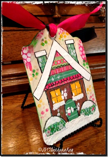 gingerbread house tag on stand wm