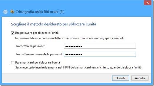 BitLocker Scegliere metodo desiderato per sbloccare l'unità