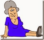 Clipart Illustration of a Gray Haired Lady In A Blue Dress, Dazed And Confused, Sitting On The Floor After Taking A Nasty Fall And Injuring Herself At The Office
