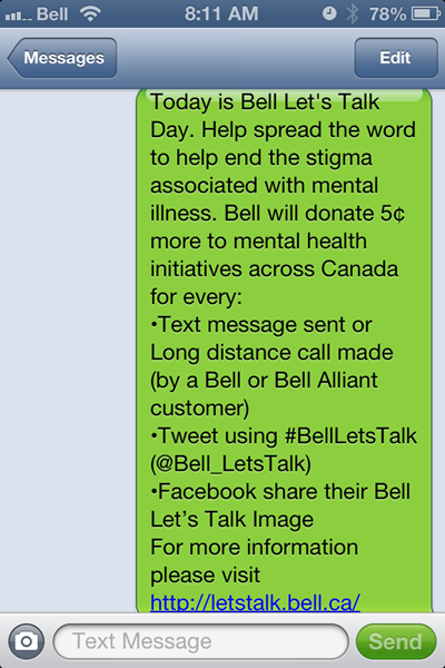 Bell Let's Talk message