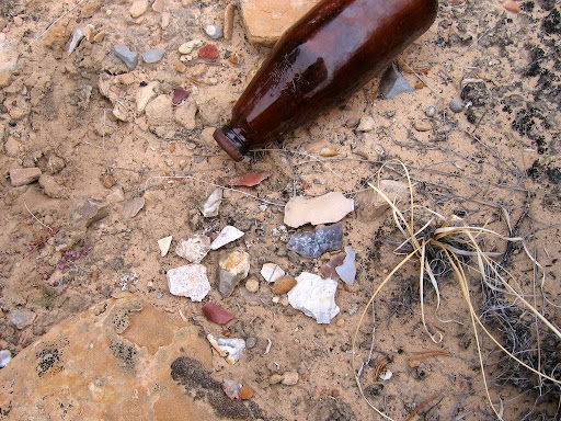 Chert flakes and a beer bottle