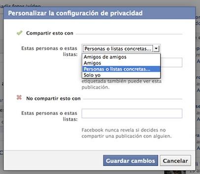 Personalizar configuración de privacidad