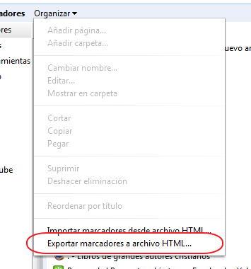 exportar los marcadores en Chrome