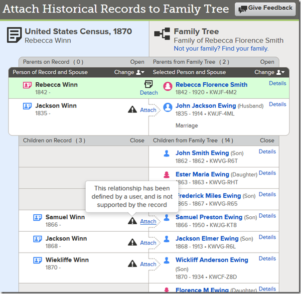 Enhanced attach record example with matches manually aligned