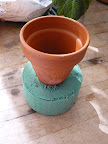 I used oasis in the clay pot instead of potting mix. Oasis is a water absorbent foam that florist for making arrangements. I used the bottom of the pot to measure the diameter I needed.