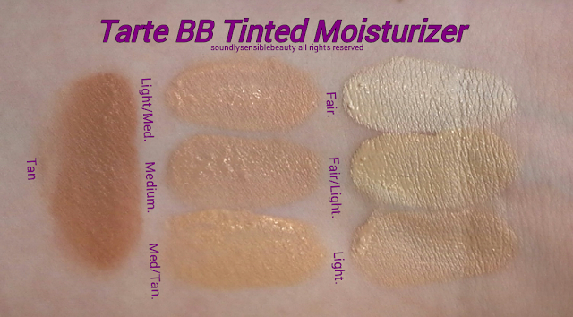 Tarte Amazonian Clay BB Tinted Moisturizer SPF 20; Review & Swatches of Shades Fair, Fair/Light, Light, Light/Medium, Medium, Medium/Tan, Tan,