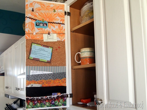 Cabinet Door Organization (Using fabric scraps!) by Sawdust and Embryos