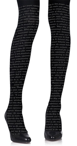 Love Text Print Tights Black from TrendyLegs