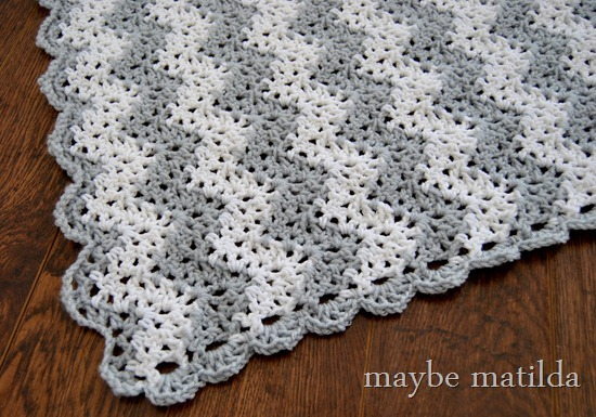 Gray and White Chevron Blanket by maybe matilda