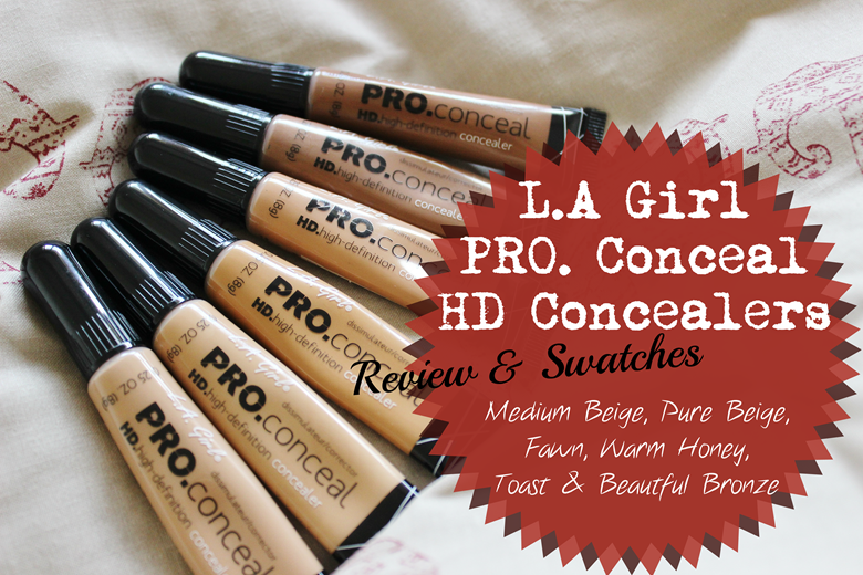 L.A Girl Pro. Conceal HD Concealer–Medium Beige, Pure Beige, Fawn, Warm Honey, Toast and Beautiful Bronze review swatches