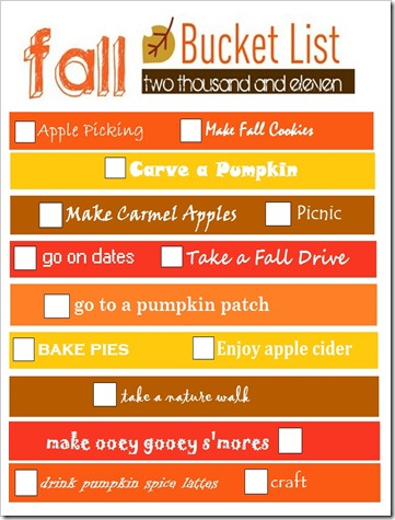 2011 Fall Bucket List