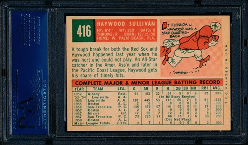 1959 Topps 416B Haywood Sullivan no circle period back