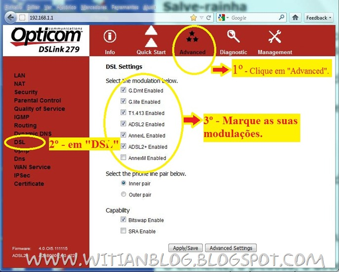 Configurando e roteando o modem roteador OPTICOM DSLink 279 para conectar automaticamente na internet VELOX - 4 - witian blog