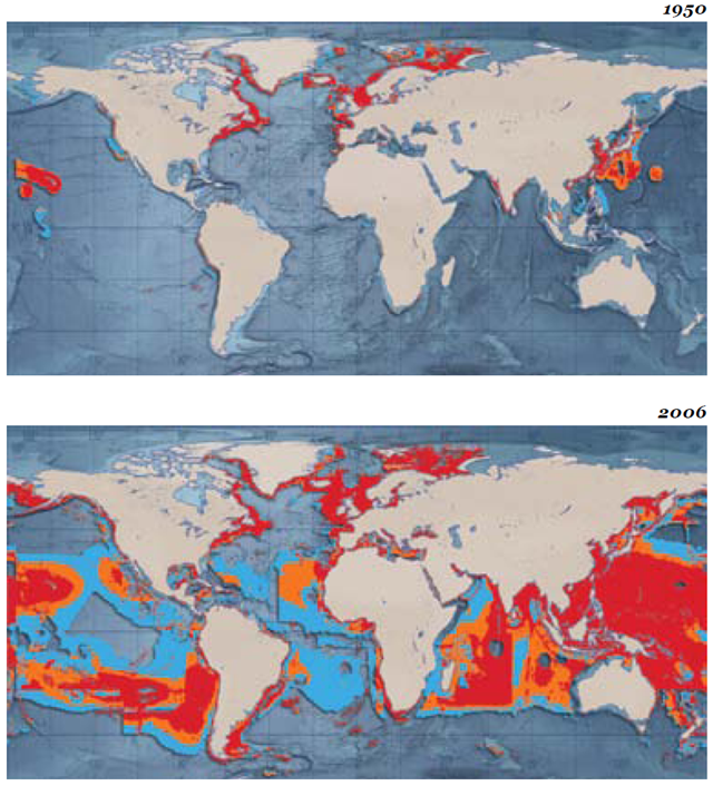 The expansion and impact of world fishing fleets in a) 1950 and b) 2006. The maps show the geographical expansion of world fishing fleets from 1950 to 2006 (the latest available data). Since 1950, the area fished by global fishing fleets has increased ten-fold. By 2006 100 million km2, around 1/3 of the ocean surface, was already heavily impacted by fishing. worldwildlife.org