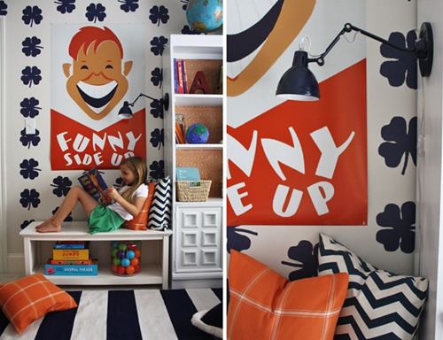 kids' reading nook via emilyaclark.com