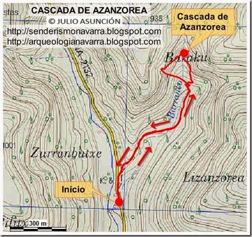 Mapa ruta Cascada de Azanzorea - Julio Asunción