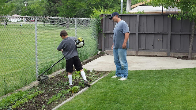 David Learning to Use the Weed Whacker in Starr's Backyard