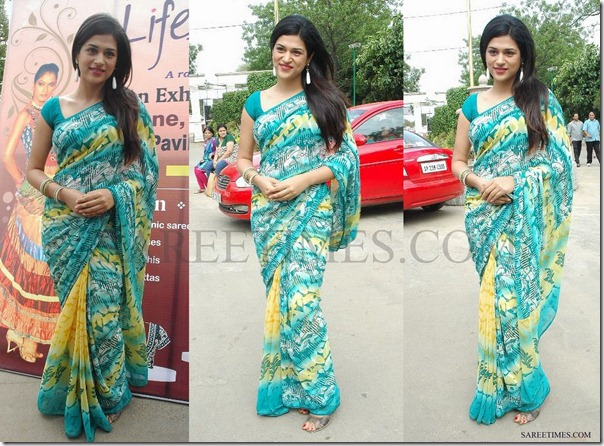 Shraddha_Das_Green_Printed_Saree