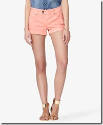 Button Tab Colored Denim Shorts