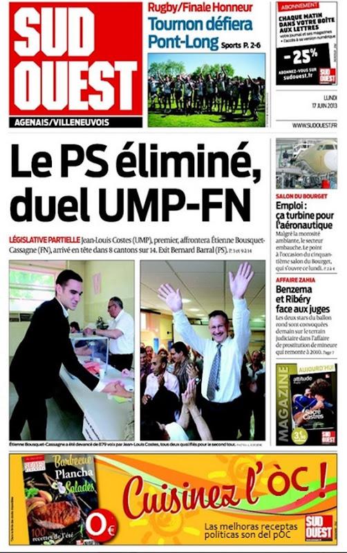 Portada Sud-Ouest Eleccions de Vilanèva d'Òlt